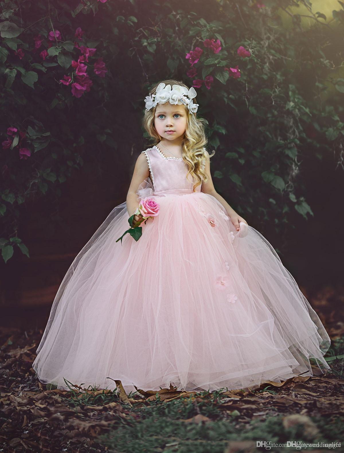 Princess Pink Sleeveless Ball Gown Tulle Flower Girl Dresses 2017