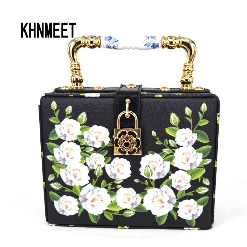 Fashion Black Printing Flower Box Women Handbag lock Flap Purse pochette original designer floral Lady strap shoulder bags Z820