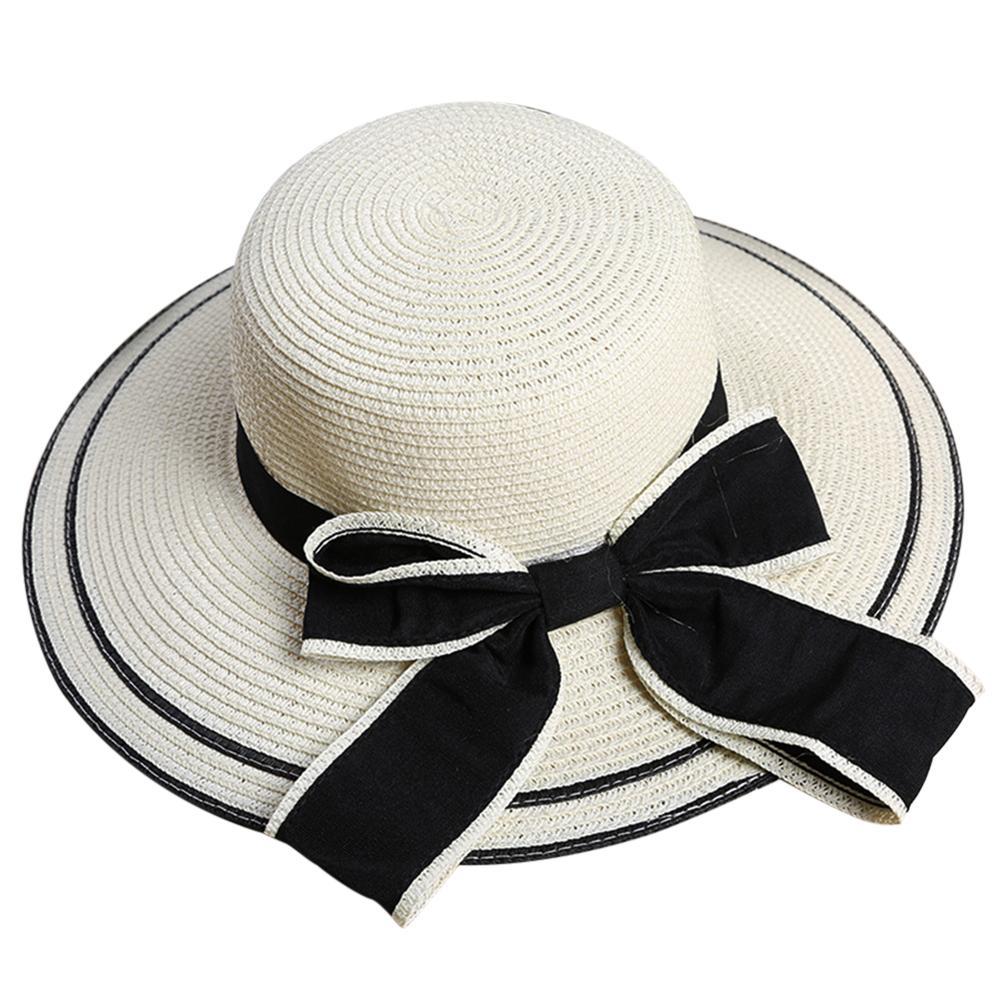 Compre Mejor Precio Mujeres Niñas Bowknot Enrollado Ancho Banda Verano Sol Sombrero  De Paja Gorra De Playa A  33.31 Del Towork  bf35bb19ec0e