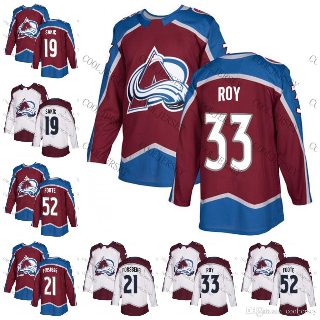 36bb7c6cd 2018 New AD Colorado Avalanche  33 Patrick Roy 21 Peter Forsberg 19 Joe  Sakic 52 Adam Foote Red White Vintage Hockey Jerseys S 60 UK 2019 From  Cooljersey