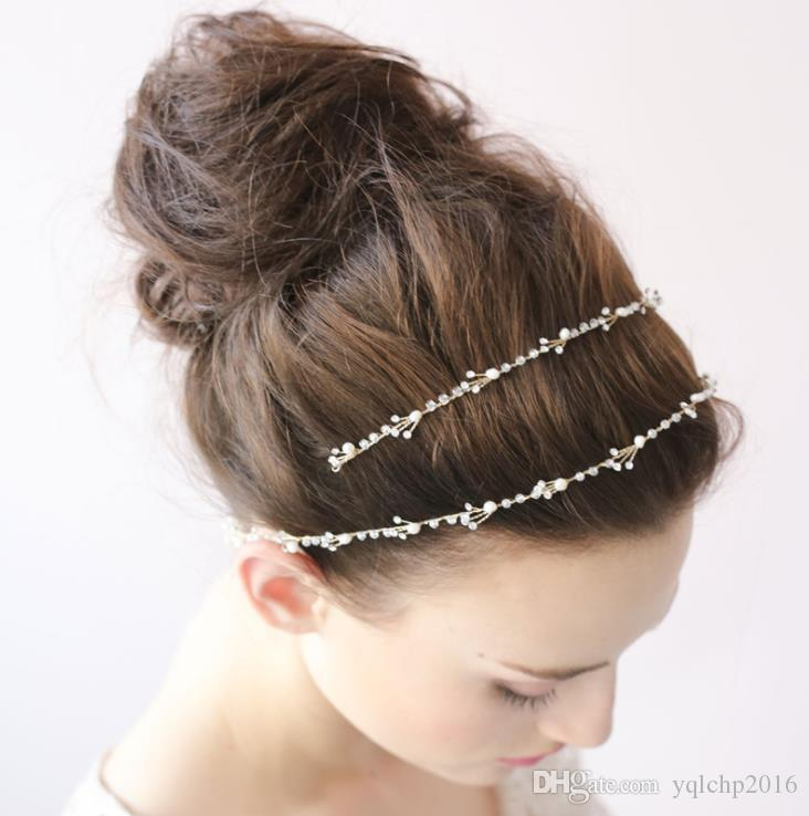 Fashionable head with gold and exquisite handmade crystal hair with bridal headwear