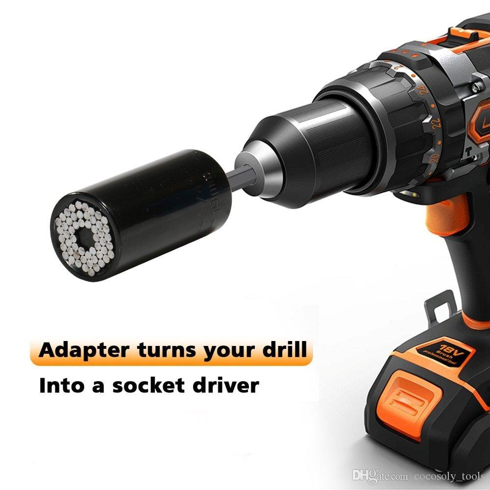 Universal Socket Electric Drill Adapter Tool Drive Adapter Multi-Function Ratchets Sockets Universal sleeve 7mm-19mm