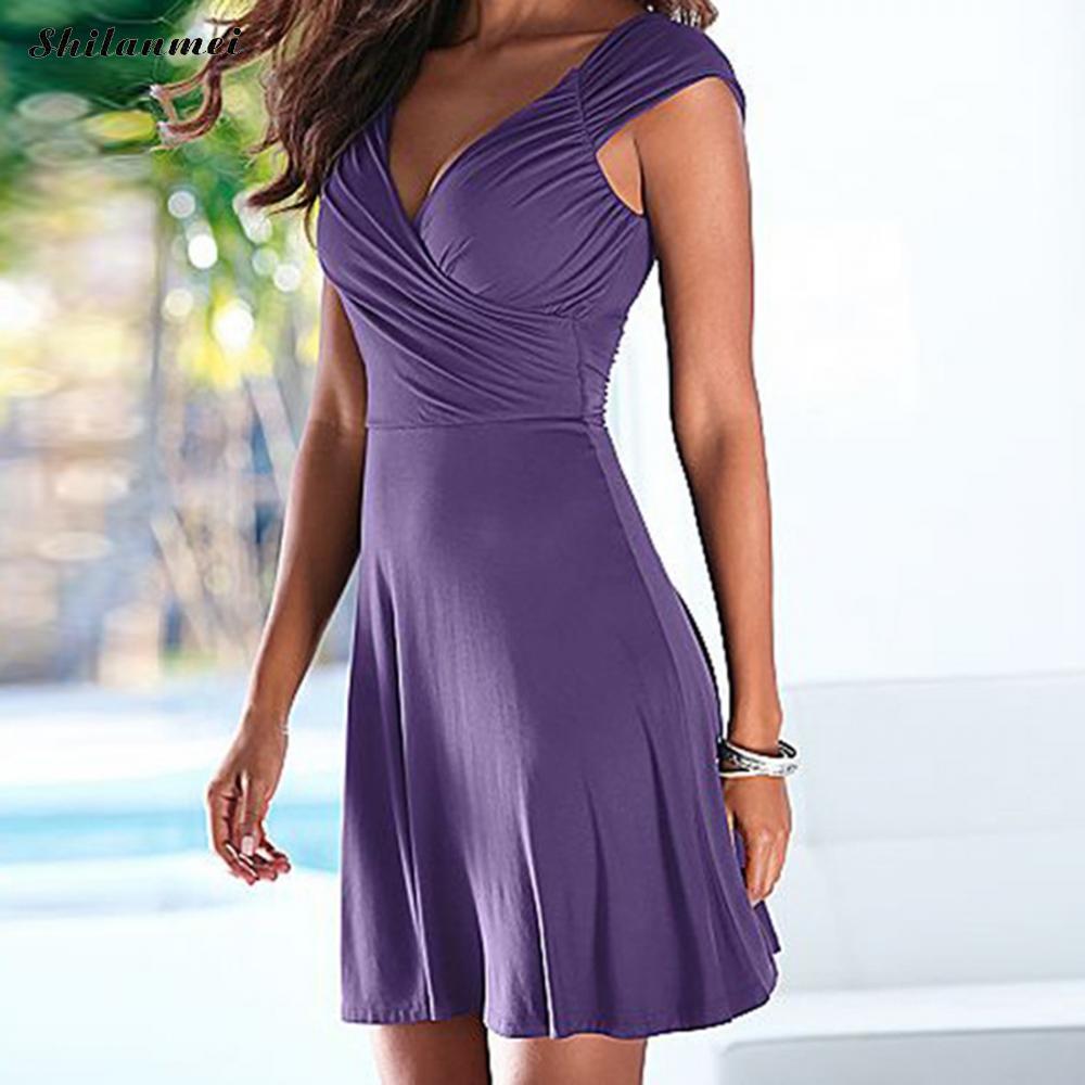 519c8be3acfc Casual Purple Summer Dress Solid Black A Line Dress Women Mini Boho Part  &Amp;Beach Women Dresses Vestidos 2018 Plus Size Cute Dresses For Special  Occasions ...
