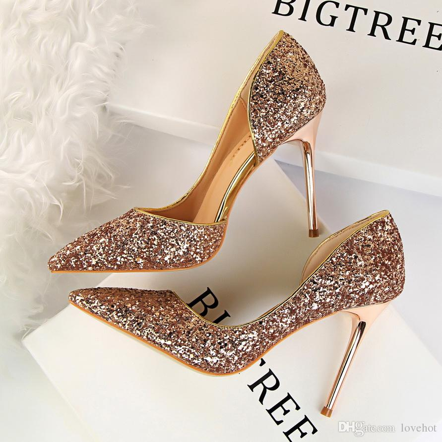 3cf90f3d0 BIGTREE Women Shoes High Heels Fashion Sequins Multicolor Sexy Pumps Party  Ladies Shoes Thin Heels Brand Women Shoes 868 8 Mens Boots Shoe From  Lovehot