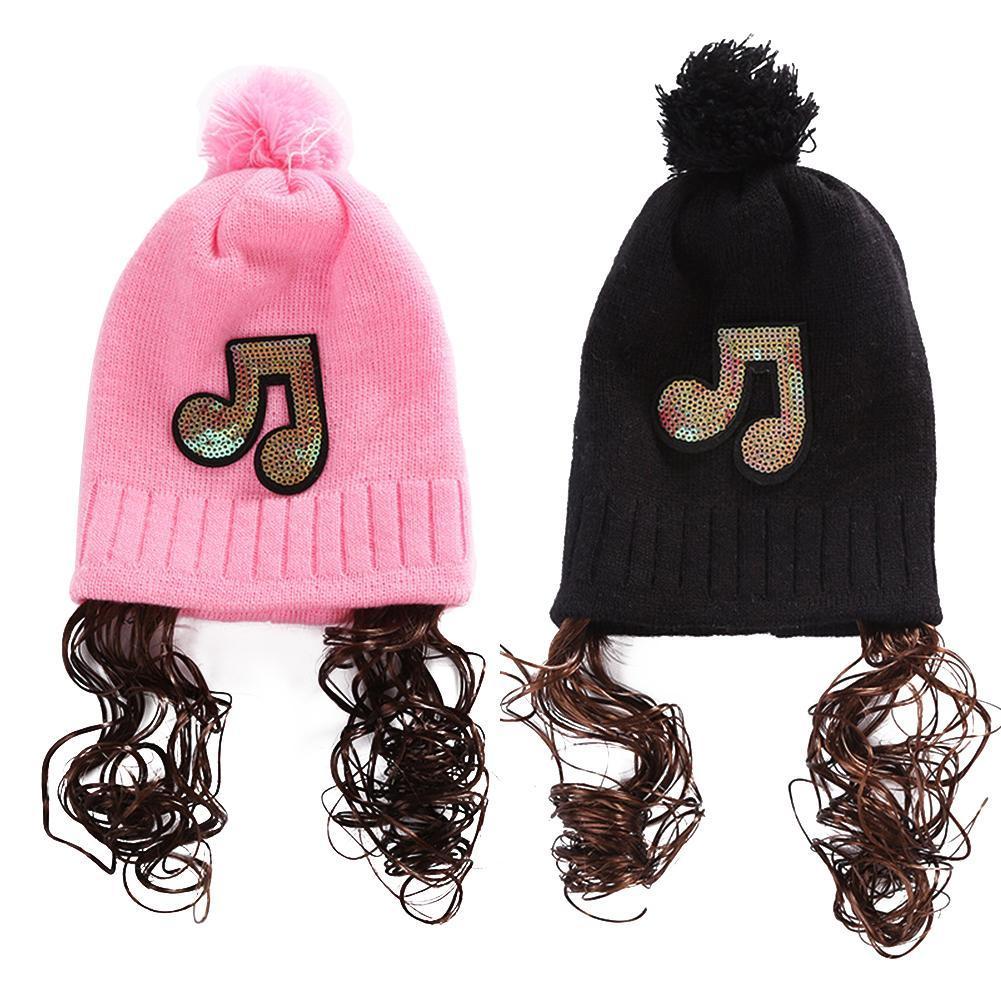 2019 Fashion Autumn Winter Baby Girls Paillette Music Mark Wig Beanie Cap  Knitting Ball Hat From Babyeden 96297c3de9b