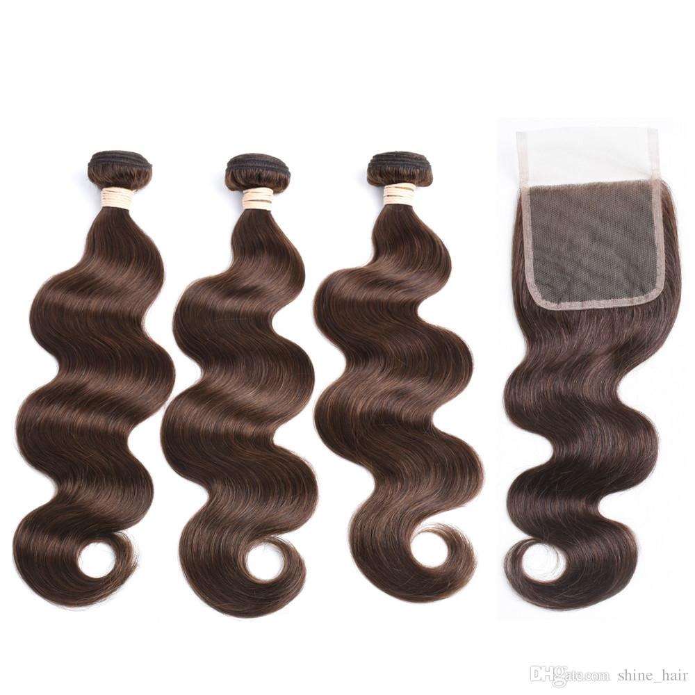 Malaysian Dark Brown Human Hair Body Wave Virgin Hair Weave Bundles with Closure #4 Chocolate Brown 4x4 Lace Closure with 3 Bundles