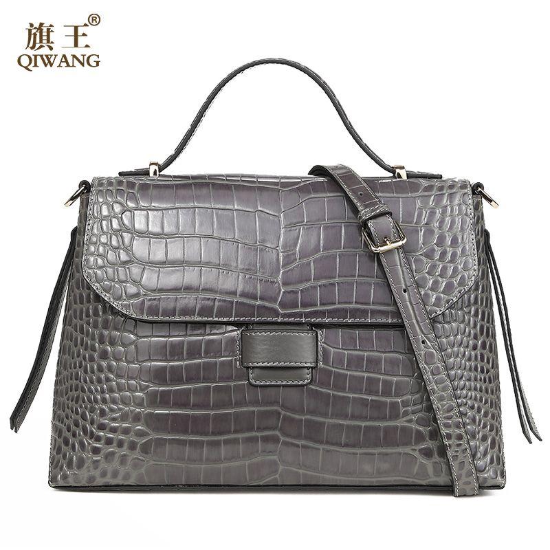 Qiwang Grau Qualität Frauen Tasche 100% Echtes Leder Frauen Krokodil Handtasche Luxus Grade Ledertasche Sehr Hohe Qualität