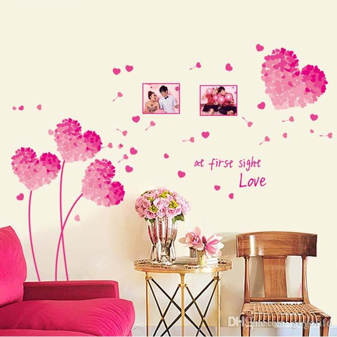 pink love wall sticker living room tv background wall bedroom