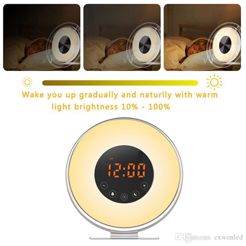 Wake Up Light with Sunrise Sunset Simulation [2018 UPGRADED] 6 Natural Sounds/FM Clock Radio/10 Brightness Levels/Night Light/Snooz