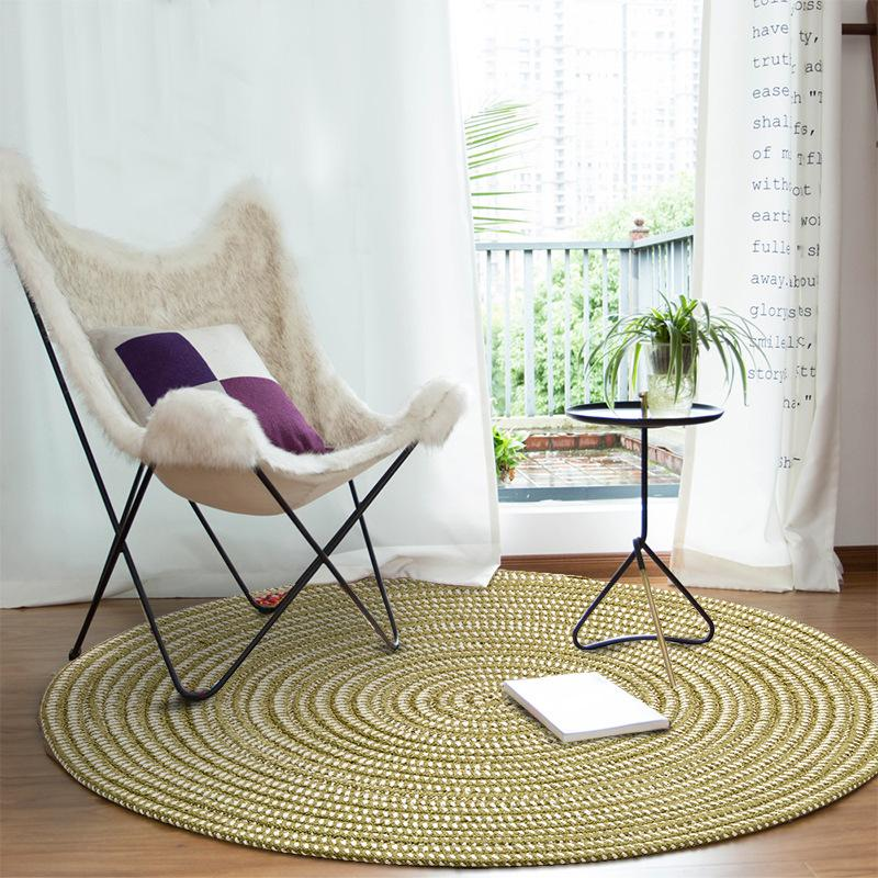 New Round Carpet Weave Non Slip Floor Rugs Yoga Mat For Bedroom Parlor Living  Room Play Tatami Computer Chair Hang Basket Mats Oversized Outdoor Cushions  ...