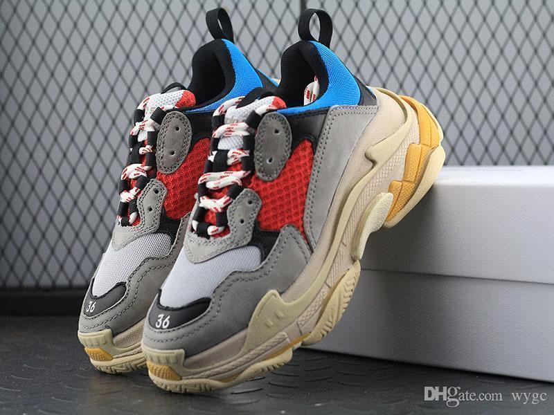 Новый 2018 Тройной S Обувь Мужчины Женщины Кроссовки Высокое качество Смешанные цвета Толстый каблук Дедушка Папа Тренер Тройной-S Повседневная обувь с лифтом обувь