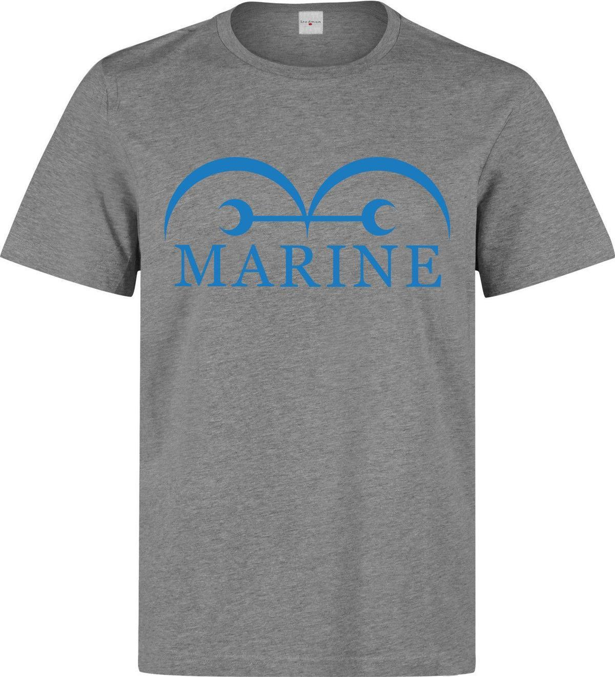 15af6ec7a2cdef One Piece Anime Manga Marine Symbol men's (woman's available) grey t shirt