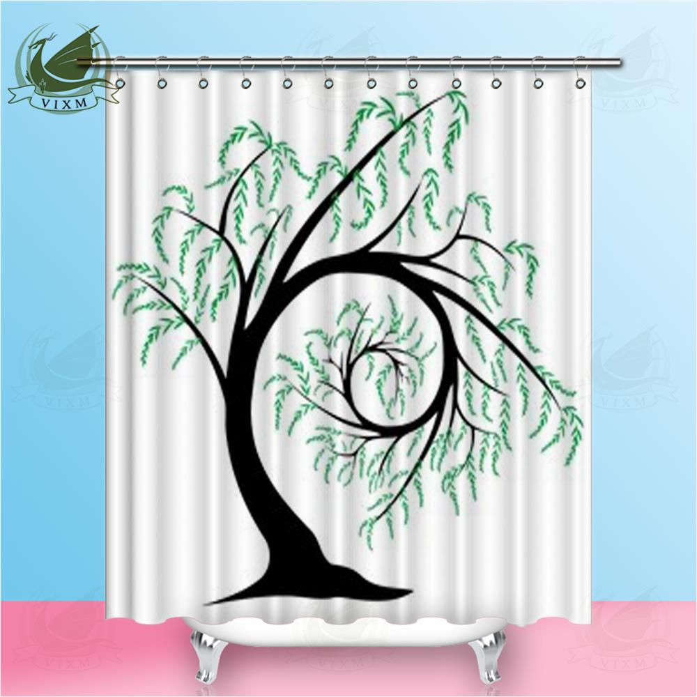 2018 Vixm Home Graceful Willow Trees Shower Curtain Modern Simple Chinese Style Waterproof And Mildew Proo For Bathroom With Hooks Ring 72 X From Bestory