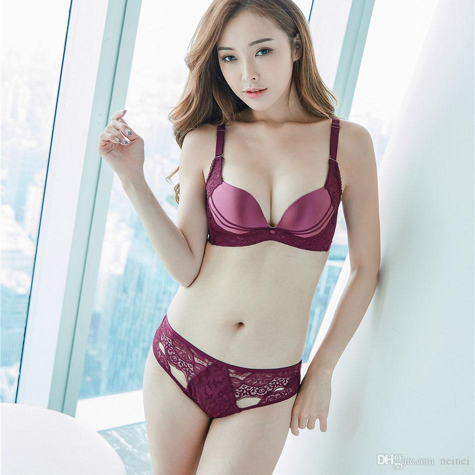 efa7404aef 2019 Lady Push Up Bra Set Lace Hollow Out Bralette Seamless Underwear Panty  Set Intimates Black Red Women Sexy Deep V Bra Brief Set From Neinei