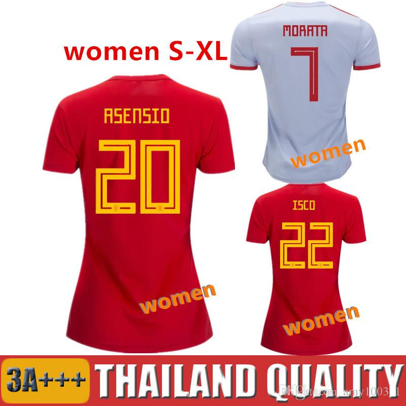 Spain Woman Soccer Jerseys 2018 World Cup ASENSIO MORATA RAMOS Girl Football  Shirt PIQUE ISCO INIESTA Ladies Camiseta DIEGO COSTA Maillot Soccer Jerseys  ... 2d85b5fef