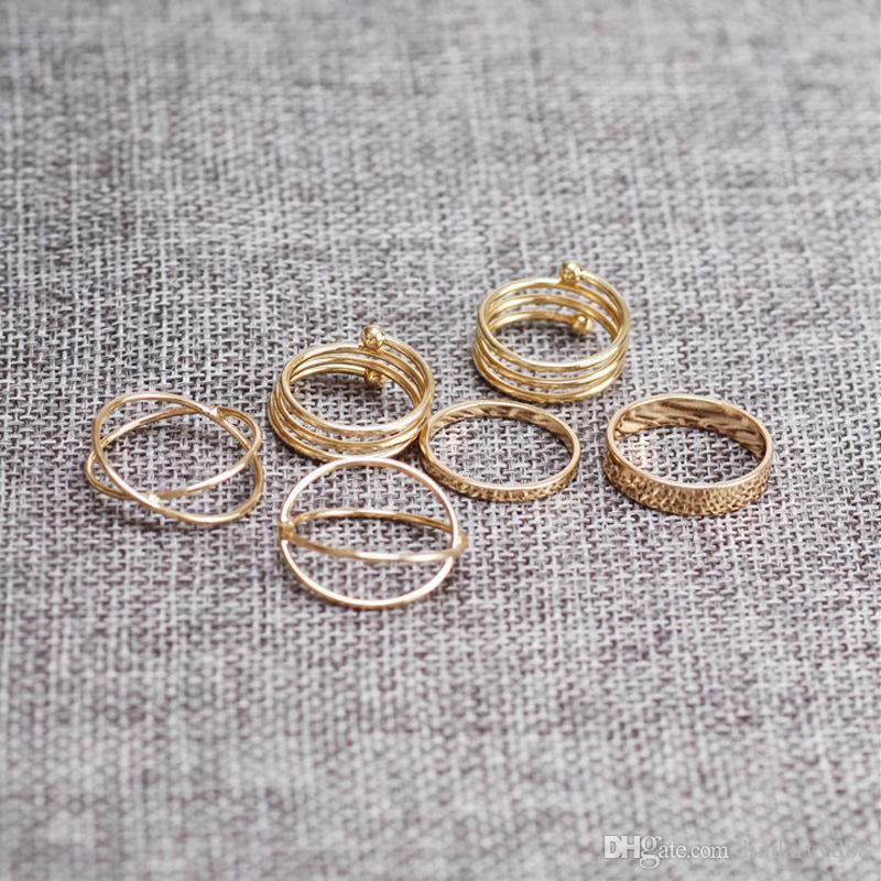 6 pçs / set Knuckle conjunta Anéis projetos Exclusivos círculos Anel Set estilo Punk Cor de Ouro midi Dedo Junta anéis Anel Set atacado