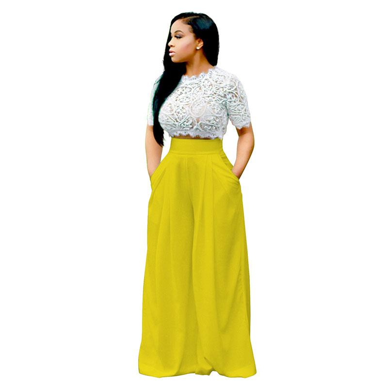 ccf95c825cd2 Women Two Piece Sets 2018 New Hollow Out Lace Short Sleeve Crop Tops + Wide  Leg Long Pants Two Piece Jumpsuit Playsuit Two Piece Jumpsuit Lace Hollow  Out ...