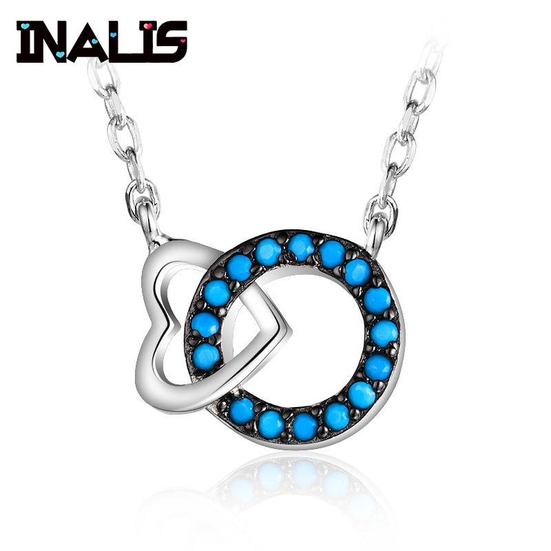 INALIS 2018 New 925 Sterling Silver Necklace Heart Round Shape Pendant Inlay Turquoise Charming Fine Jewelry for Women Wedding