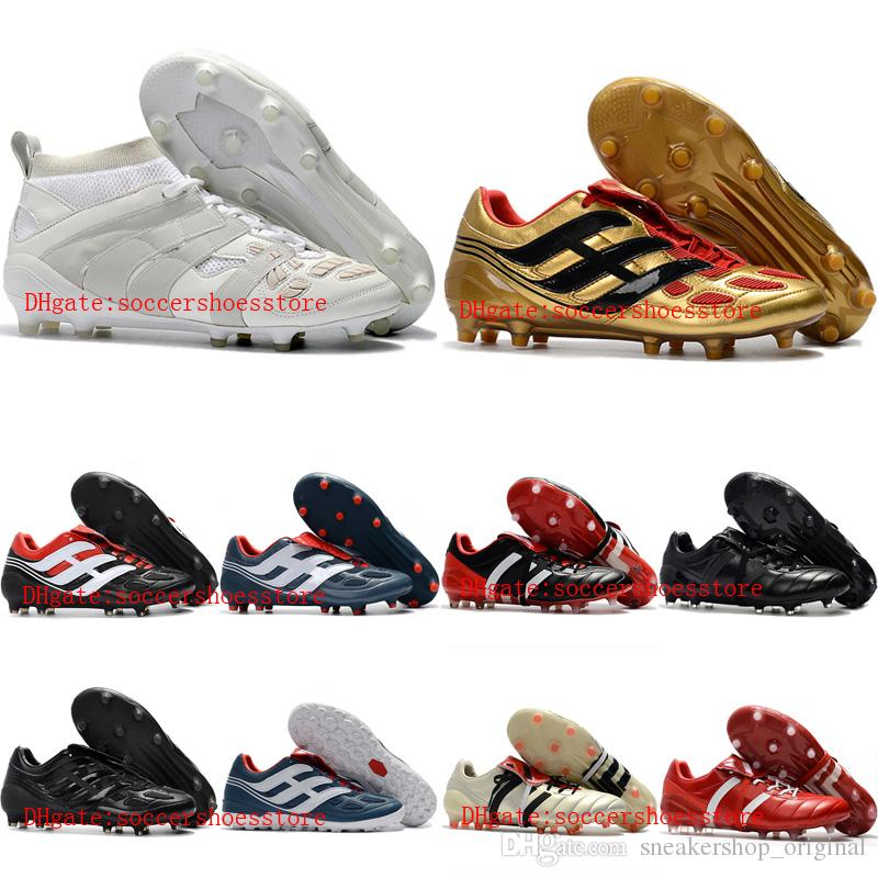 5a31d303c64 2018 Mens Leather Predator Accelerator DB FG Soccer Cleats Predator  Precision Indoor Soccer Shoes Mania Champagne Turf Football Boots Hot Kid Leather  Boots ...