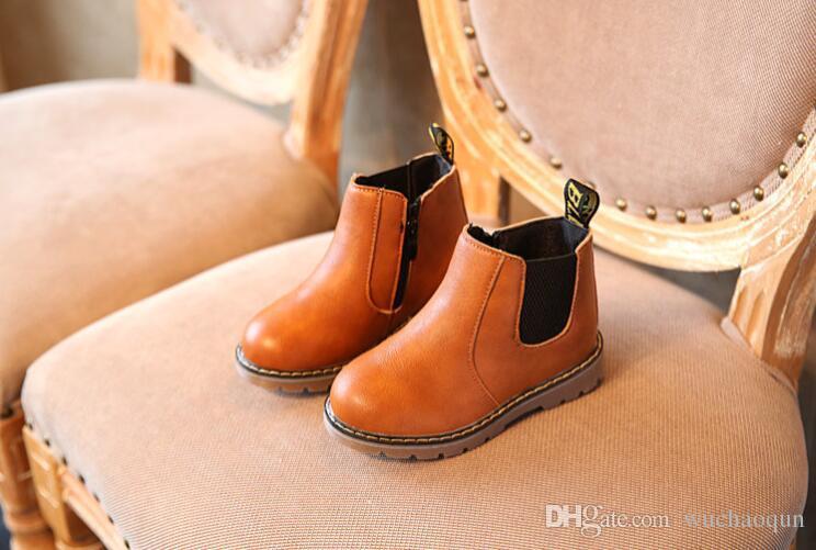 Niños Otoño Bebé Niños Oxford Zapatos para niños Botas de vestir Moda para niñas Botas Martin Botas de Ieather PU para niños pequeños Negro Marrón Gris
