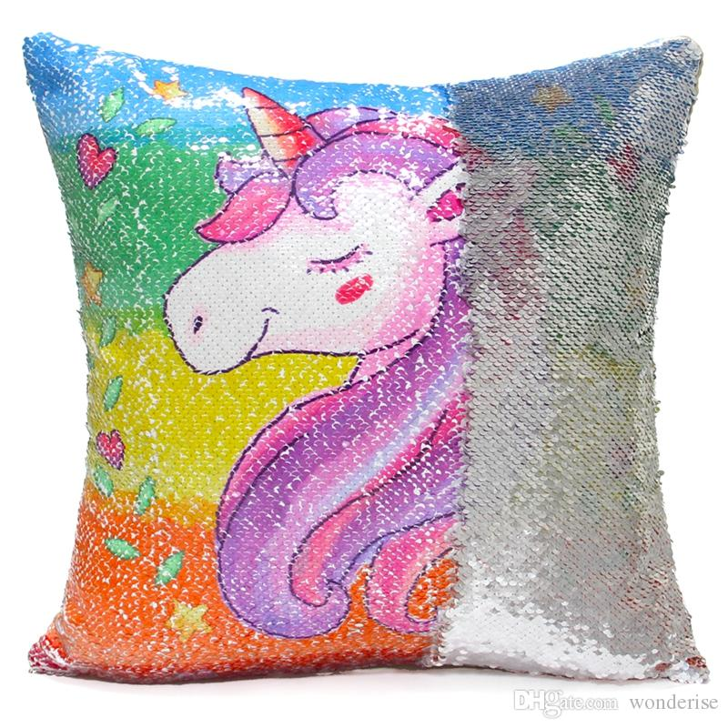 2 Styles Sequins Unicorn Cushion Covers Decorative Mermaid Cushion Cover Cute Animal Decorative Reversible Pillow Case For Sofa Seat Chair