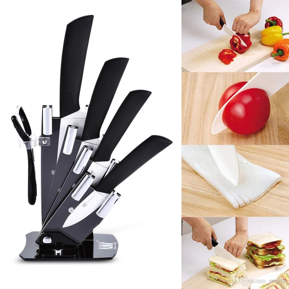 6 in 1 Kitchen Fruit Vegetable Paring Kit Slip-proof Handle Ceramic Knives with Peeler Holder Kitchen Tools Cooking Tools Knife Sets