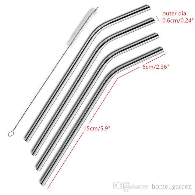 Reutilizável de aço inoxidável do metal Palhinha Bent e tipo reto e líquido de limpeza Escova Para Casa Partido Bar Acessórios