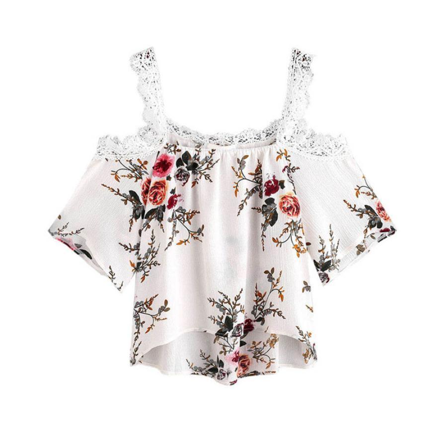 c6dc037c191 Women Short Sleeve Off Shoulder Lace Sweet Floral Shirts Casual Tops T Shirt  Cute Kleding Vrouwen Fashion Women Clothes 2019 T Shirts Deals Super Cool T  ...