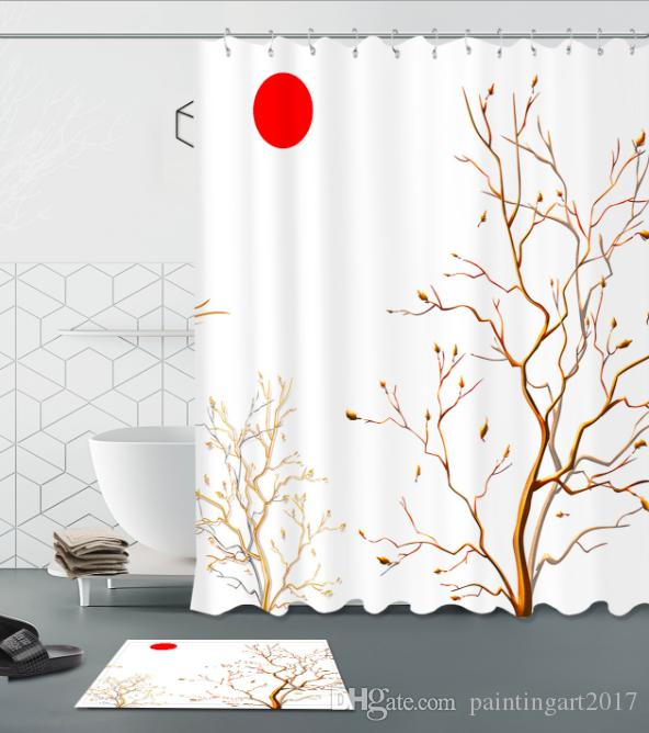 2019 3D Polyester Fabric Japanese Style Pattern Shower Curtains With 12 Hooks For Bathroom Decor Modern Bath Waterproof Curtain Floor Mats Sets From