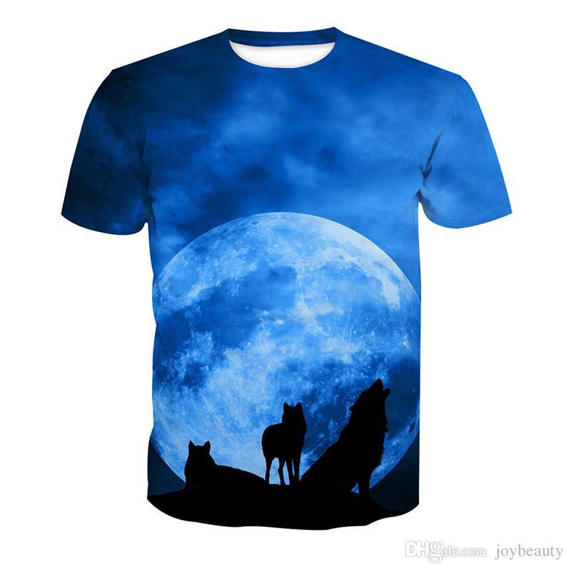 75043584f911 Men T Shirt Wolf Moon 3D Full Print Man Casual Tops Unisex Short Sleeves  Digital Graphic Tee Shirt Tees T Shirts Blouse RLT 3094 Shopping T Shirt  Online ...