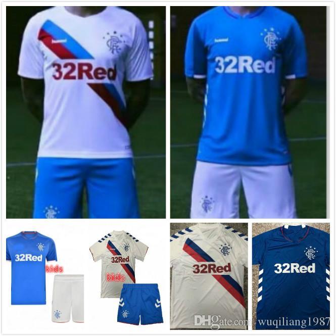 310a322f06 Compre Crianças Kit 2018 2019 Rangers FC Casa Azul Camisa De Futebol 18 19  Criança Glasgow Rangers Fora Camisas De Futebol Branco Camisa Juventude  Uniforme ...