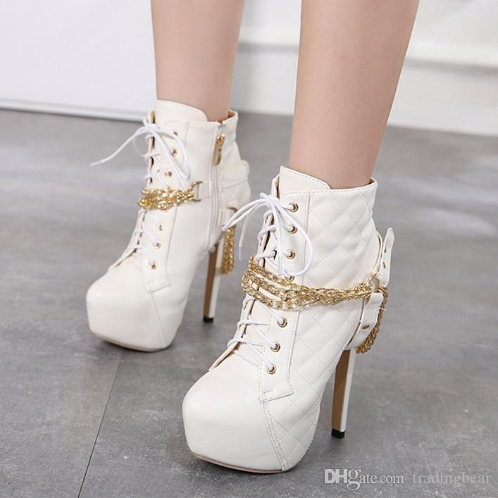 Heels White 35 14cm Women Shoes To Trendy Boots Black Gold Platform Grid Design High Size Chain 40 w8OP0knX