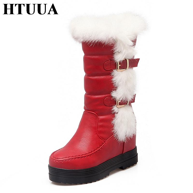 0a48f0d2226 HTUUA Plus Size 43 Fluffy Fur Plush Warm Winter Boots Women Snow Boots PU  Leather Waterproof Platform Ladies Shoes SX1546 Slipper Boots Ankle Booties  From ...