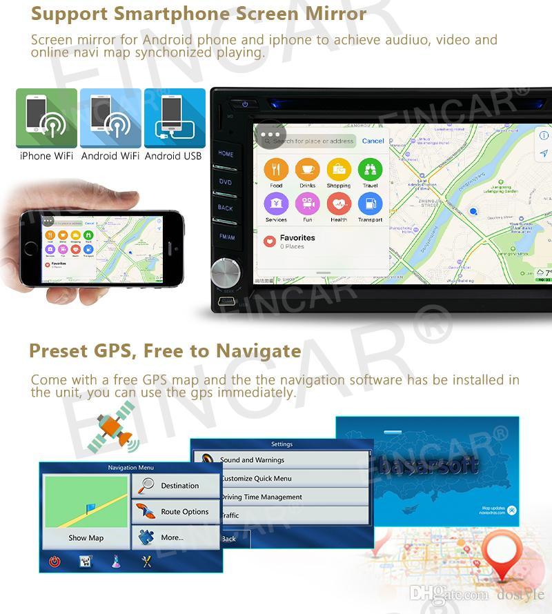 Backup Camera + In Dash Quad Core doppio din Android 6.0 Audio Stereo GPS Radio Wifi Bluetooth autoradio auto DVD lettore CD Automotive unità principale