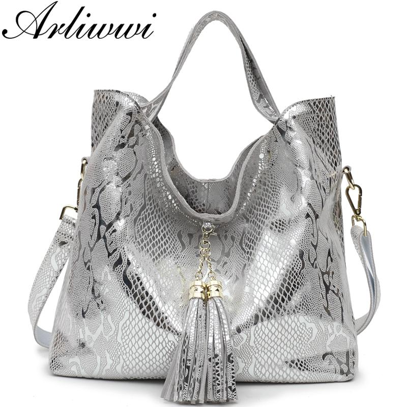 81ad04cb5f90 Arliwwi Brand New Top Quality Serpentine Grain Suede Cowhide Classical  Designer Genuine Leather Handbags With Elegant Tassel Personalized Bags  Fashion ...