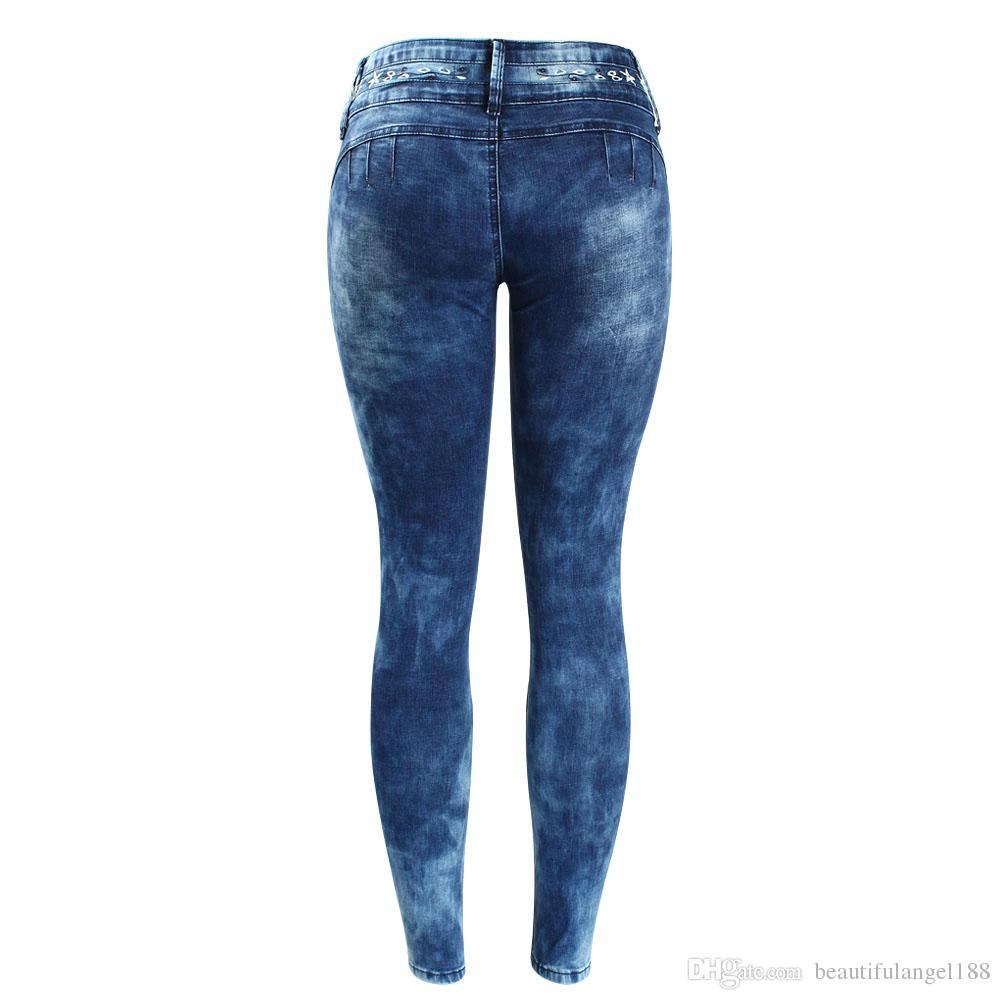 Women`s Embroidery Mid Low Waist Washed Stretchy Ripped Pencil Skinny Denim Pants Jeans For Women Jean