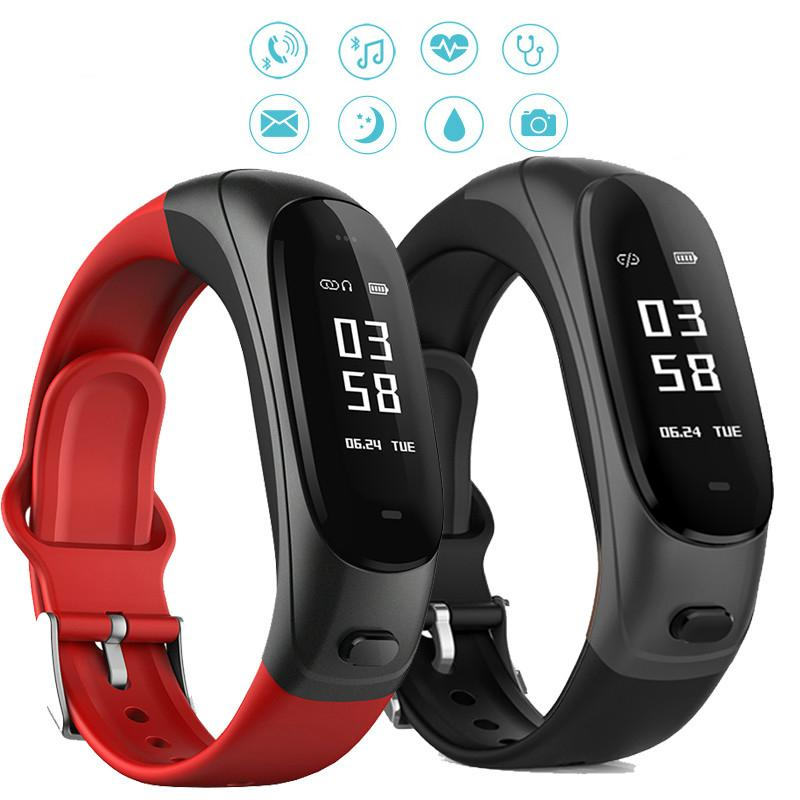 SOVOGU V08 Bluetooth Earphone Smart Band 2 in 1 Earband Smart Bracelet Wristbands Heart Rate Blood Pressure Monitor 0.96 inch
