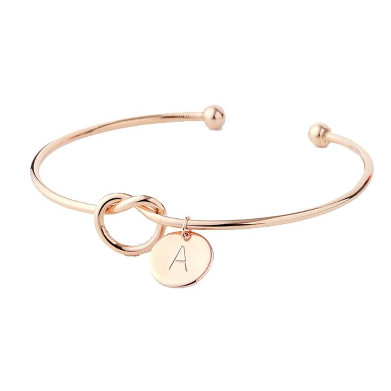 2164b36075 26 Letter Gold Silver Rose Color Knot Heart Bracelets Bangles Fashion  Jewelry Alloy Round Pendant Chain Link Bracelet for Women
