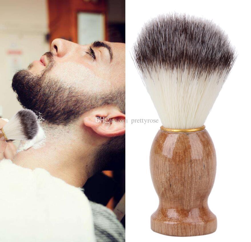 Cepillo de afeitar Pelo de tejón Hombres Peluquería Salón Hombres Herramienta de limpieza de la barba facial Herramienta de afeitar Maquinilla de afeitar Cepillo Mango de madera para hombres