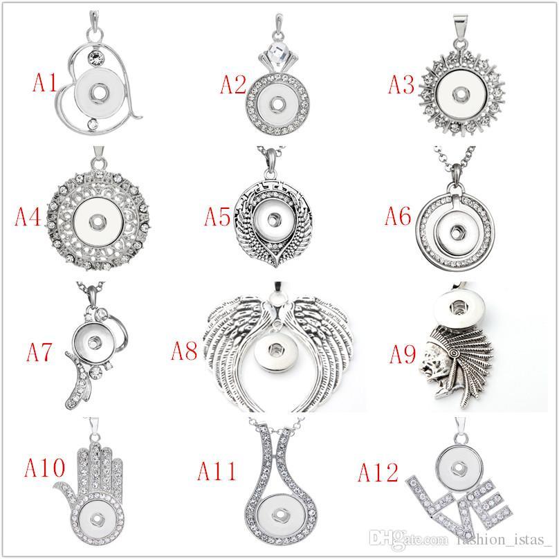 60 beaucoup de styles Noosa Chunk Assortiment de boutons-pression Pendentif Colliers Chaîne En Acier Inoxydable Bijoux