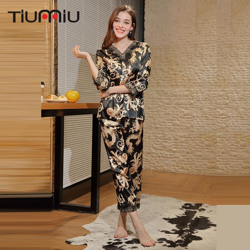 4f8f57badc Vintage Dragon Print Women Pajama Sets High Quality Ladies V-neck ...