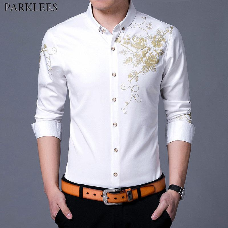 2019 Golden Rose Flower Print Dress Shirt Men 2018 Fashion New Slim Fit  Long Sleeve Chemise Homme Casual Button Down Shirt Male White From  Beatricl, ... 556ed387c90