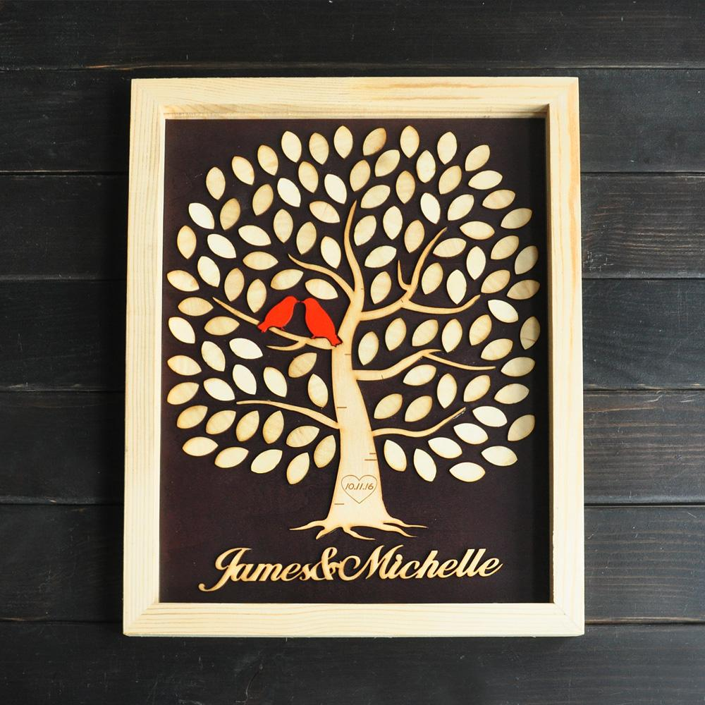 Alternative Wedding Guest Book.Personalized Wedding Guest Book Alternative Wedding Guestbook With Tree Wooden Rustic Guestbook Customize Your Names