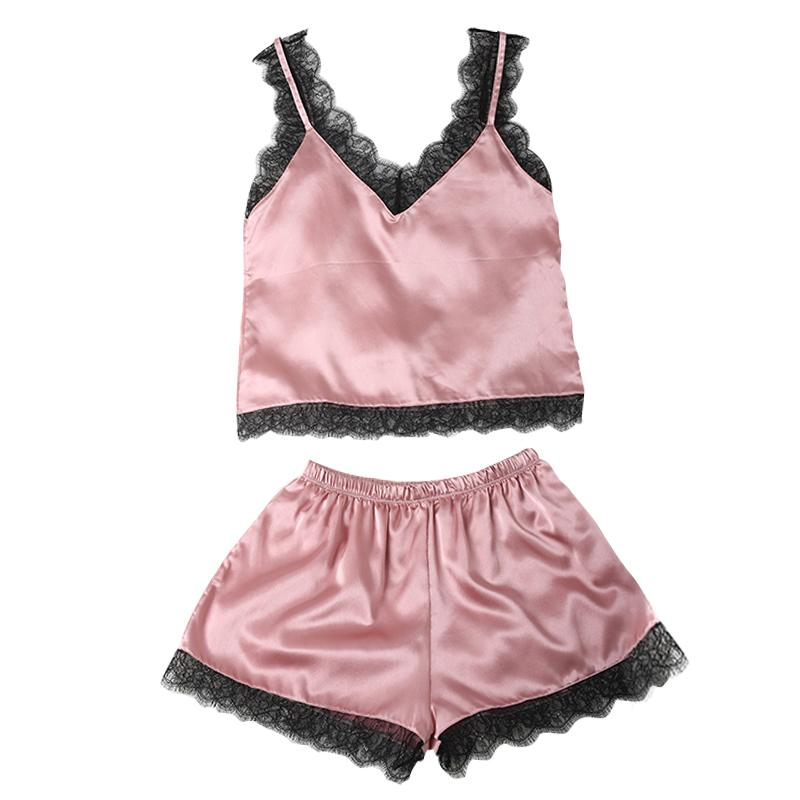 9fdb31b4143 Compre Conjunto De Pijama Sexy Para Mujer Con Pijama De Encaje, Top De Satén  Y Pantalón Corto Conjunto De Pijama Otoño A $21.21 Del Unclouded01 |  DHgate.Com