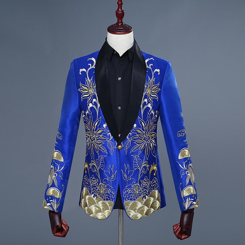 c2979a3b651bc Acquista Blazer Blu Uomo Ricamo Giacca Blu Uomo Giacca Completa Giacca  Blazer Masculino Jeans Masculino Pattern Designed Blaze A  123.87 Dal  Marryone ...