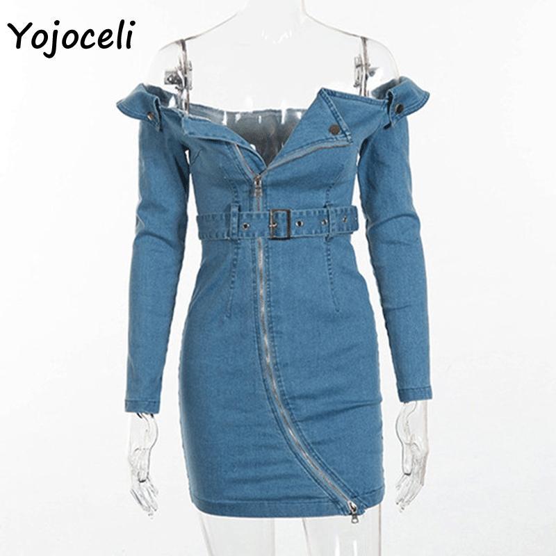 41b93479a1 Yojoceli Sexy Off Shoulder Denim Dress Bodycon Slim Zipper Autumn ...