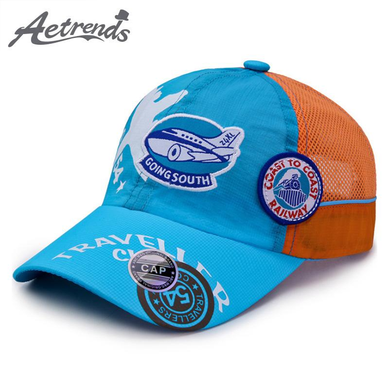 [AETRENDS] 2018 New Summer Breathable Mesh Kids Baseball Caps Quick Dry Snapback Bone Hats for Girls Boys Z-6514