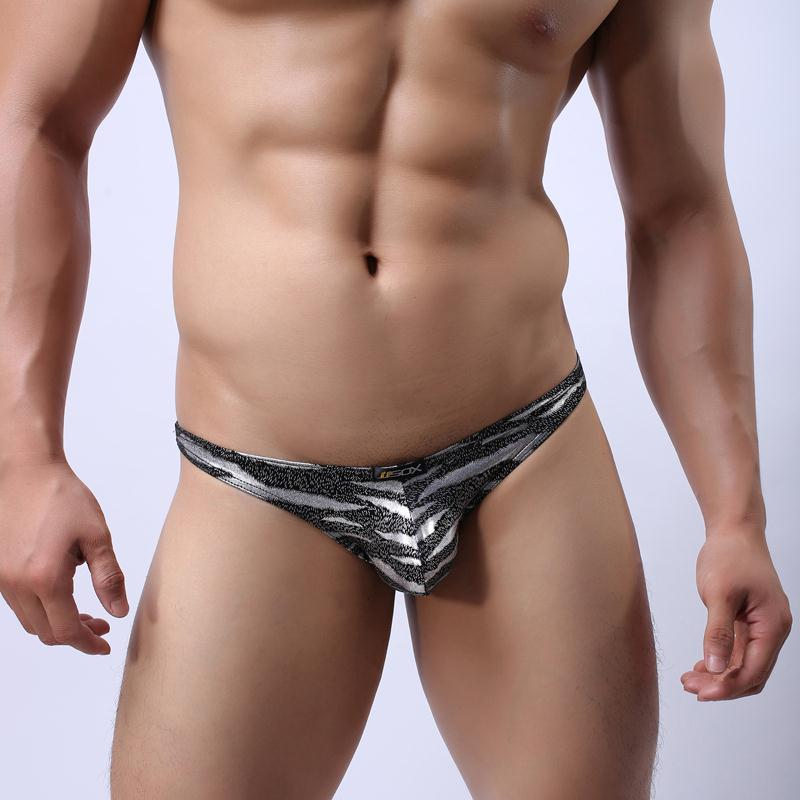 JJ39 Brand Men's Sexy Gold Silver Leopard Brief Shorts Soft Underwear Hot Exotic Briefs JJSOX