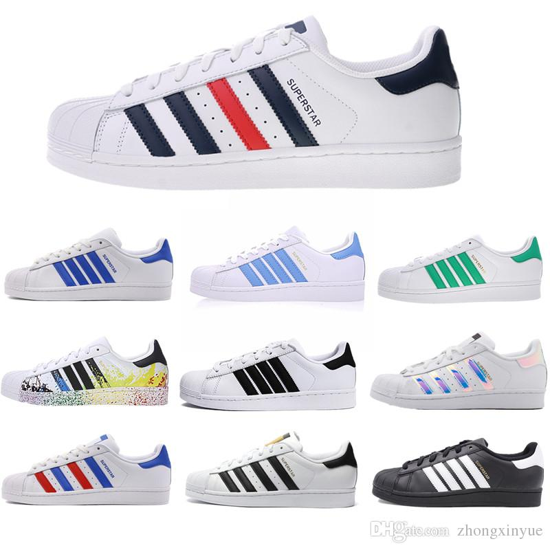 new arrival 6e6af 6524c Großhandel Billig Superstar Original Weiß Hologramm Schillernden Junior  Gold Superstars Sneakers Originals Super Star Frauen Männer Sport  Freizeitschuhe 36 ...