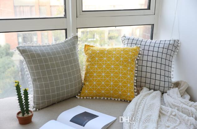 New Designed Nodic Style Cushion Covers With Check Cotton Linen